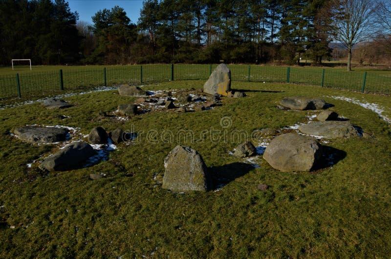 Kamienny okrąg - Neolityczny okrąg w Dundee obraz stock