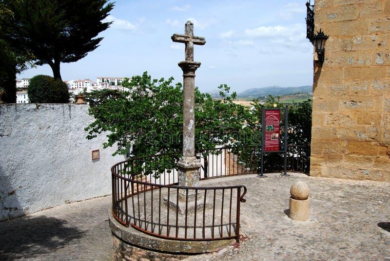 Kamienny przecinający na zewnątrz markiza Salvatierre dom, Ronda, Hiszpania obrazy stock