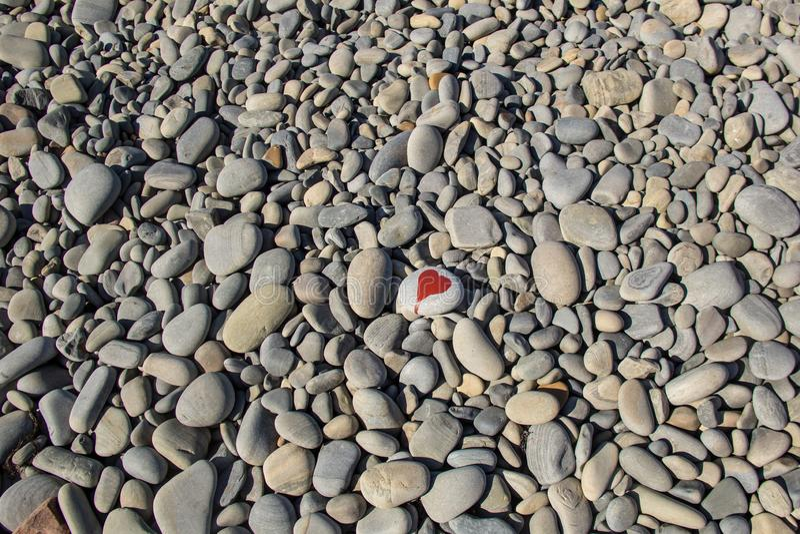kamienny serce malujący z czerwonym farba markierem na otoczaku jako prezent dla Świątobliwej walentynki na otoczaka tle obrazy stock