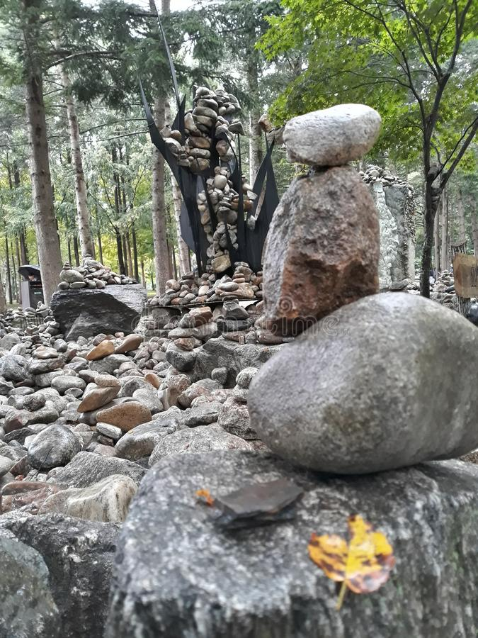 Kamienny wierza przy Nami wyspą Seul Południowy Korea zdjęcia stock