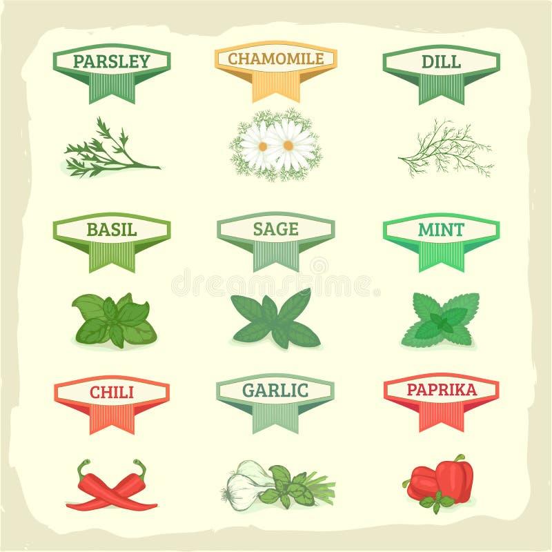 Kamille, Knoblauch, Dill, Salbei, Basilikum, lizenzfreie abbildung