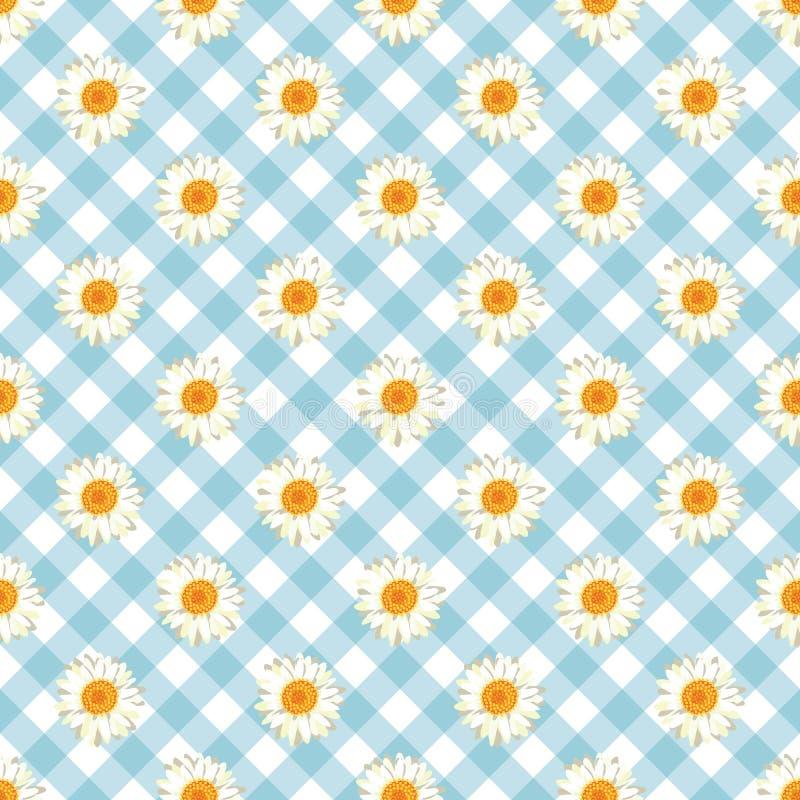 Kamille naadloos patroon Madeliefjes op de blauwe achtergrond van de Gingangcontrole vector illustratie