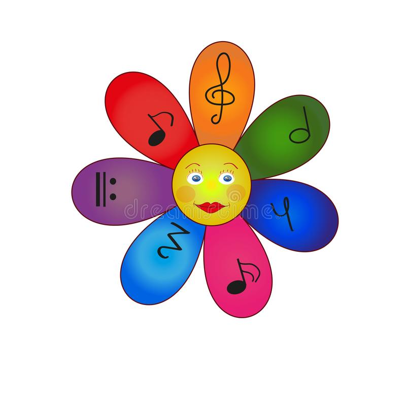 Kamillebloem multicolored met nota's stock foto's