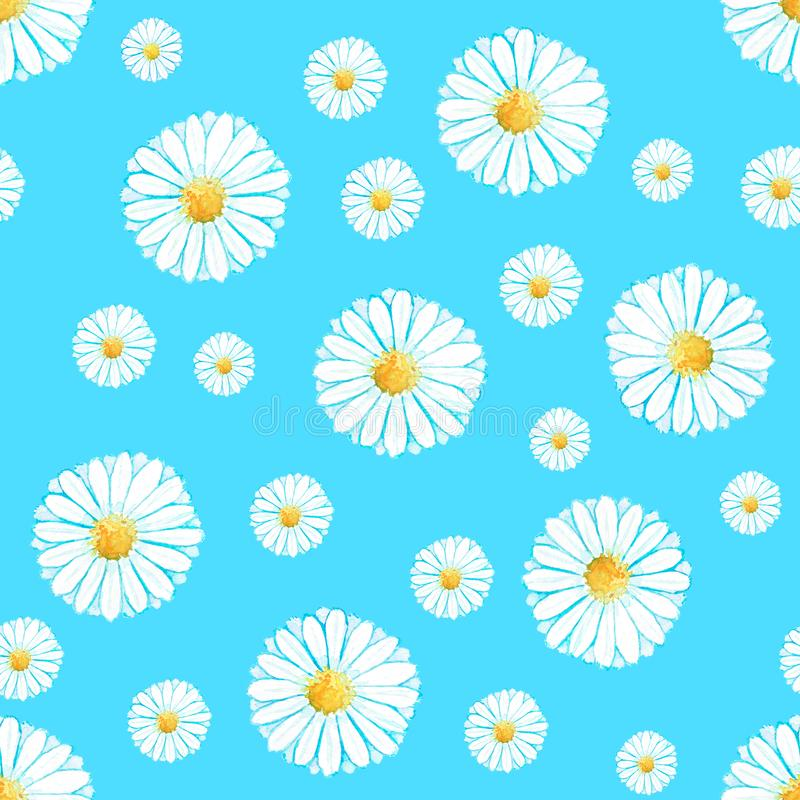 Kamillen-Blumenmuster des Aquarells nahtloses lizenzfreie abbildung