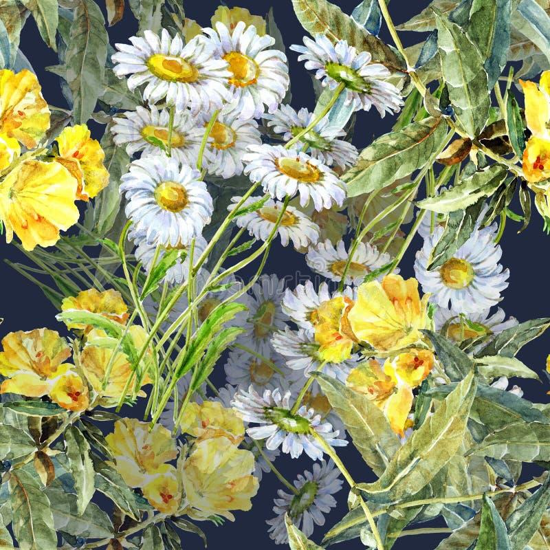 Kamillen-Blumenstrauß mit gelben Blumen des Aquarells Nahtloses mit Blumenmuster stock abbildung