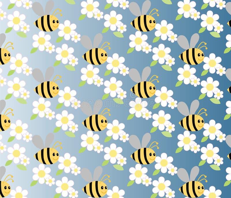 Kamillen- und Honigbienenblumen stock abbildung