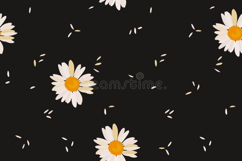 Kamillen- und Reiskörner auf einem nahtlosen Muster des schwarzen Hintergrundes Druck f?r Gewebe lizenzfreie abbildung