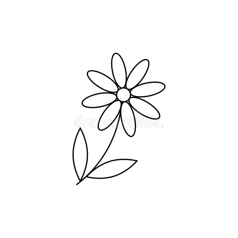 Kamillenikone G?nsebl?mchenkamille Nette Blumenanlage Liebeskartensymbol Wachsendes Konzept Zeile Auslegung Wei?er Hintergrund Ge vektor abbildung