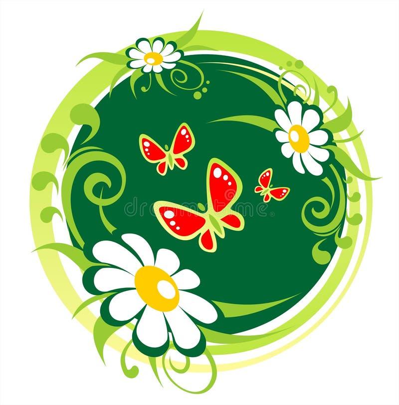 Kamilles en vlinders vector illustratie