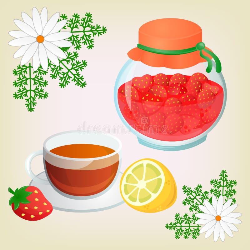 Download Kamillethee en Aardbeijam vector illustratie. Illustratie bestaande uit juffrouw - 54086691