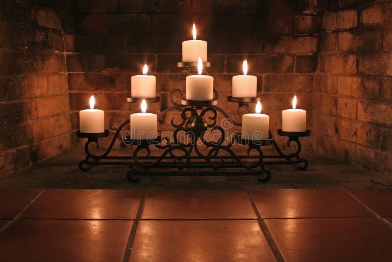 Kamin-Kerzen stockfotografie