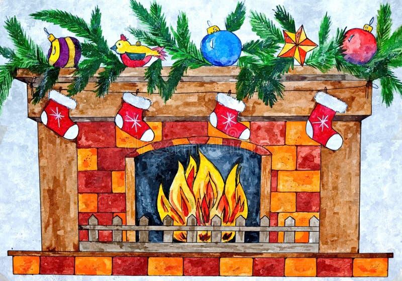 Kamin mit Socken für Geschenke von Santa Claus Weihnachtsnoch Leben Malendes nasses Aquarell auf Papier stock abbildung
