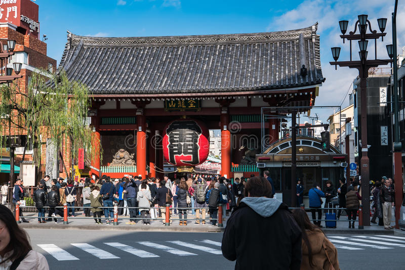 Kaminarimon (Thunder) Gate of Sensoji Temple, Tokyo stock images