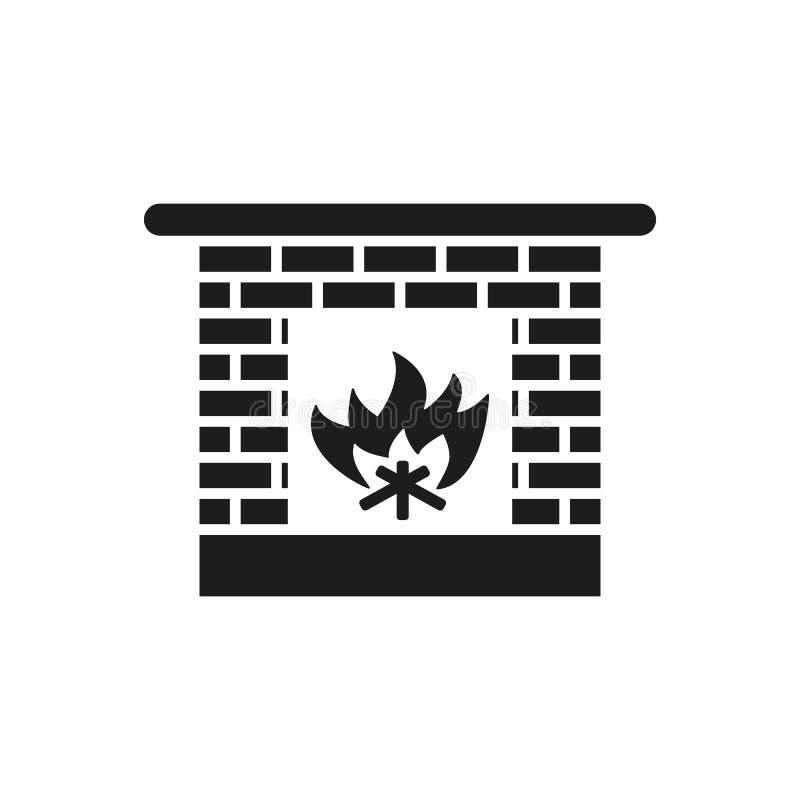 Kaminikone Herd und Kamin, Feuer, Kamineinfassung, Hitzesymbol Flaches Design Vorrat - Vektor vektor abbildung
