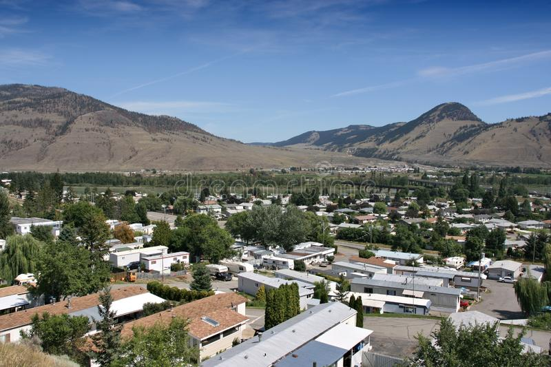 Kamloops, Canada. Sleepy suburban residential district townscape with trailer parks royalty free stock images