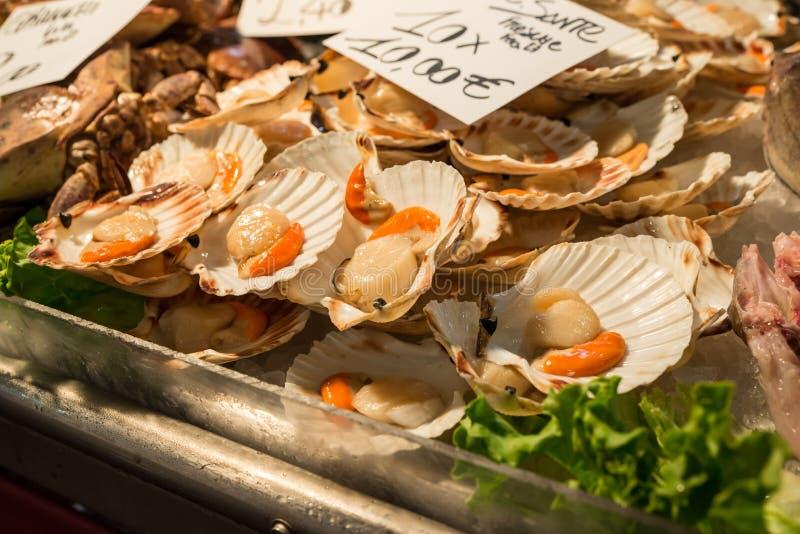 Kamm-Muscheln für Verkauf am Rialto-Fischmarkt in Venedig, Italien stockfoto