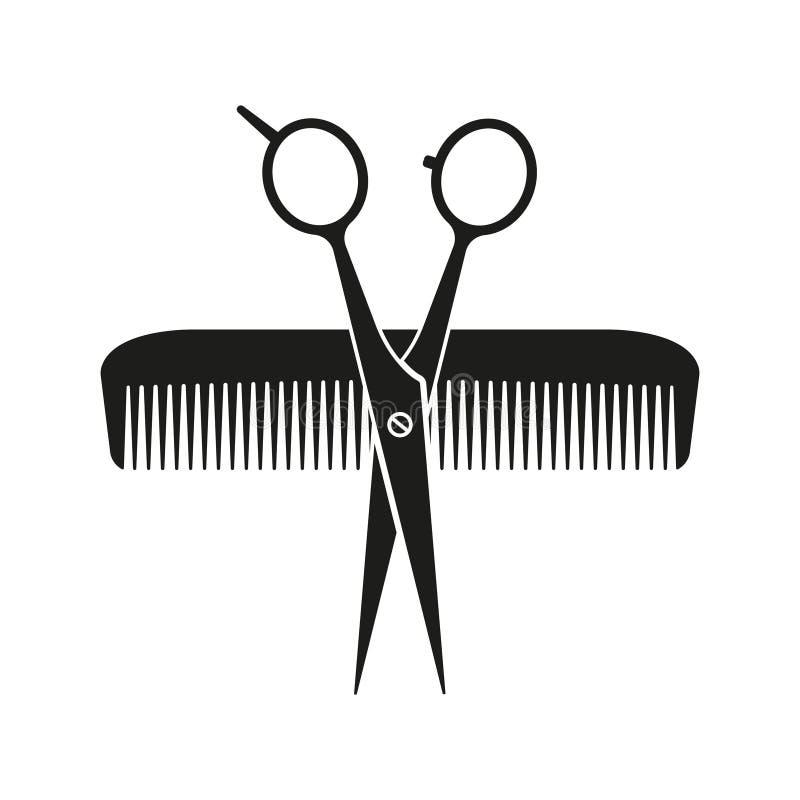 Kamm und Schere gekreuzt Vector-Illustration Flachdesign stock abbildung