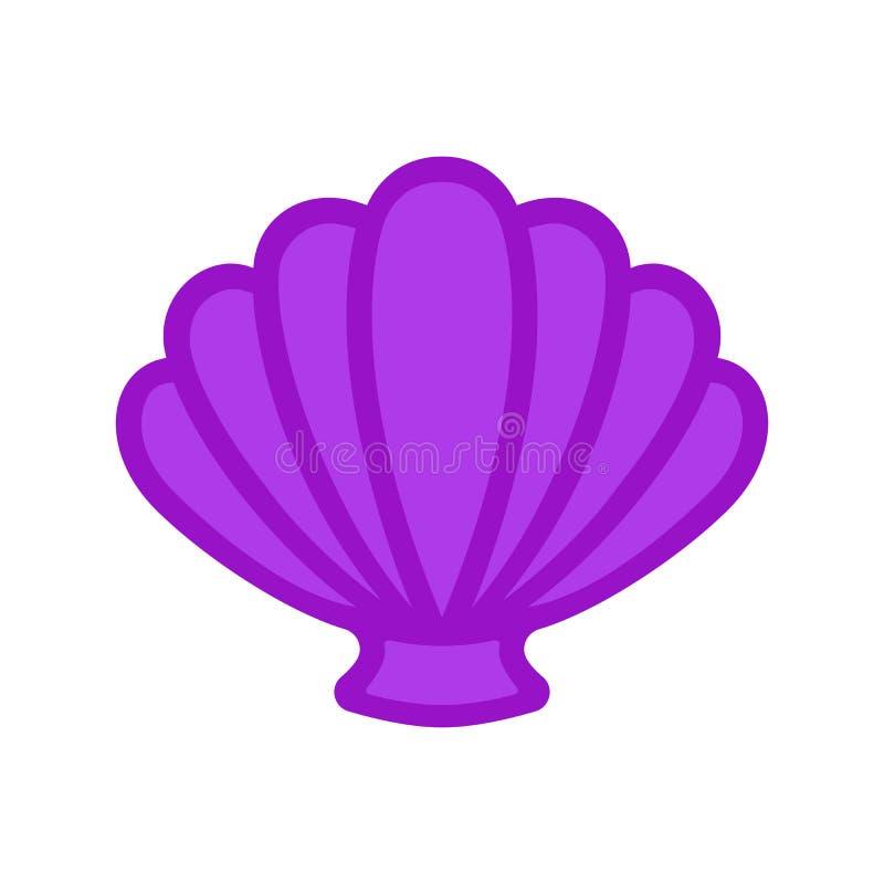Kammossel overzeese shell clam conch Zeeschelp - vlakke vector stock illustratie