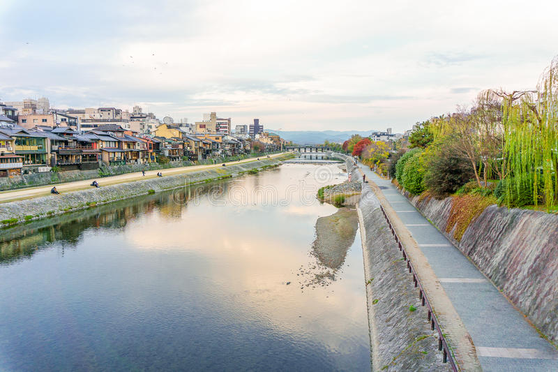 Kamo river in evening. Kyoto, Japan royalty free stock photography