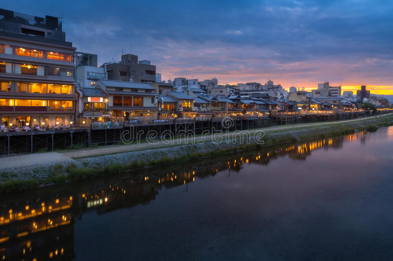Kamogawa river nearby Gion in sunset stock photo