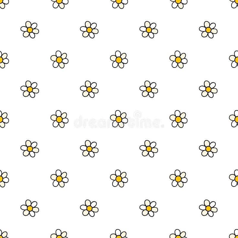 Kamomillblommor räcker den utdragna vektorn den sömlösa modellen Naturtusenskönabakgrund i modern stil Blom- textur för ytbehandl stock illustrationer