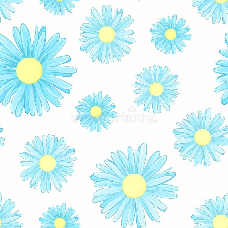 Kamomillen för blå tusensköna blommar den sömlösa modellen royaltyfri illustrationer