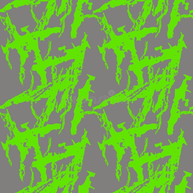Kamouflage för neongräsplan- och grå färgufon är en ljus sömlös modell royaltyfri illustrationer