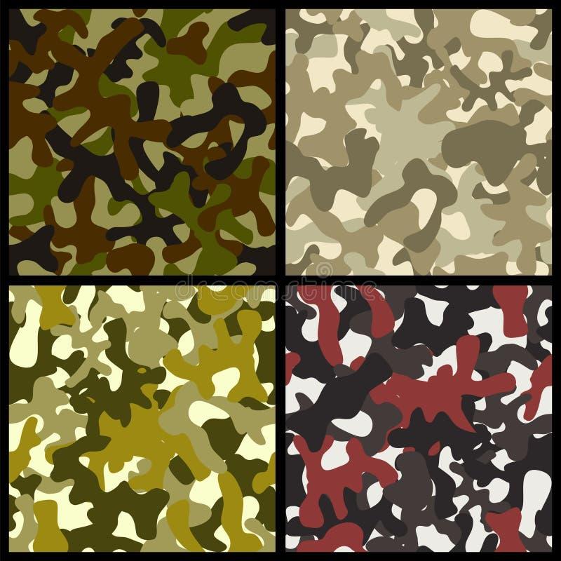 kamouflage Fyra sömlösa prövkopior vektor illustrationer