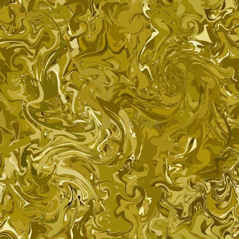 Kamouflage med skuggor av guld, brons och koppar Sömlös modecamotextur Marmorera kaotiska linjer royaltyfri illustrationer