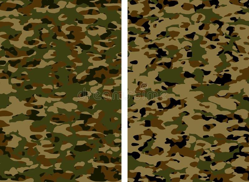kamouflagekakimilitär stock illustrationer