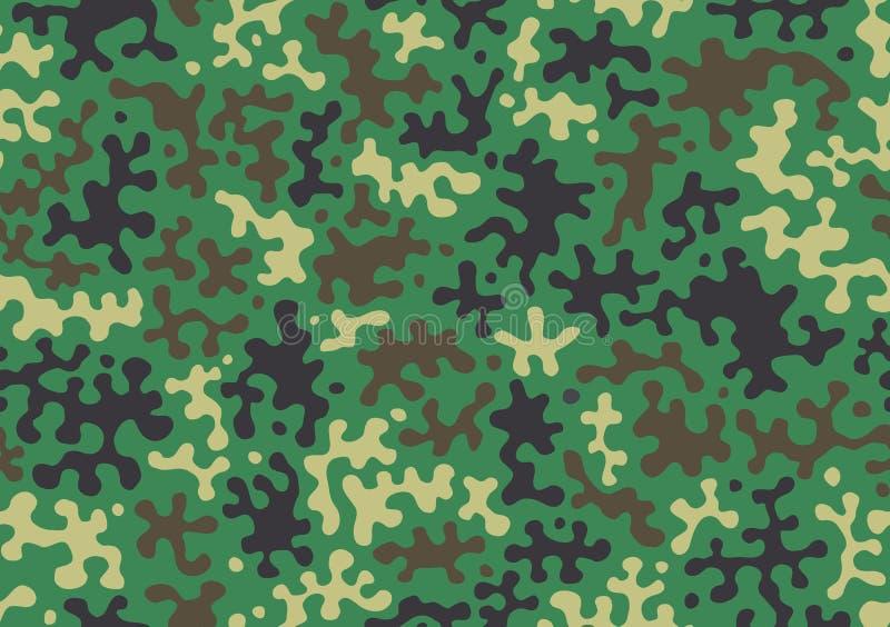 Kamouflagemodellbakgrund Klassisk klädstil som maskerar camorepetitiontrycket Grön brun svart oliv färgar skogtextur Ve royaltyfri illustrationer