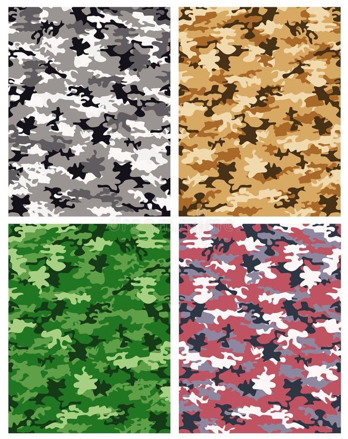 kamouflagemodellvektor stock illustrationer