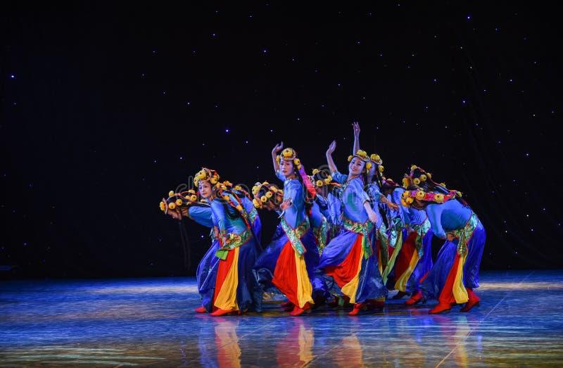 Kamp Ciba - vår av Lhasa-Kina den etniska dansen arkivbilder