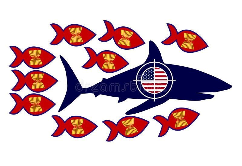 Kamp för ASEAN-länder mot USA tariffar royaltyfri illustrationer