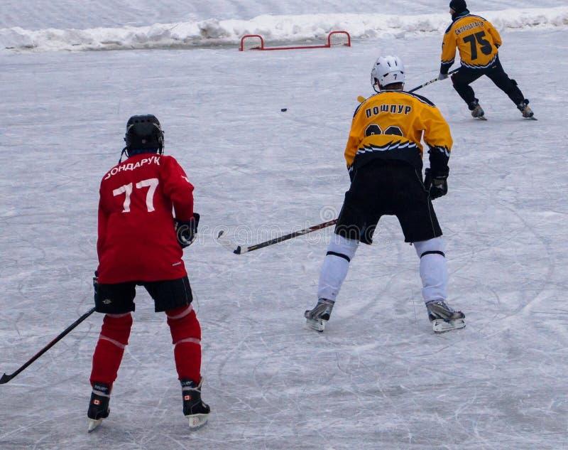 Kamp för hockeymatchlag för puck royaltyfri bild