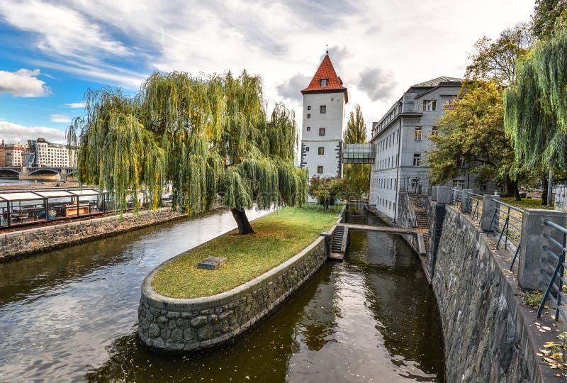 Kampa ö, Prague, Tjeckien royaltyfria bilder