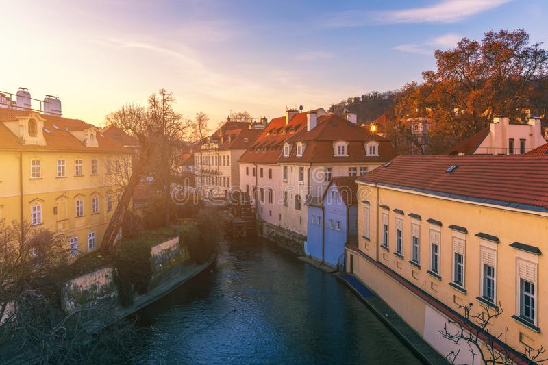 Kampa Island with Certovka River and Watermill in Old Prague, Cz royalty free stock photo