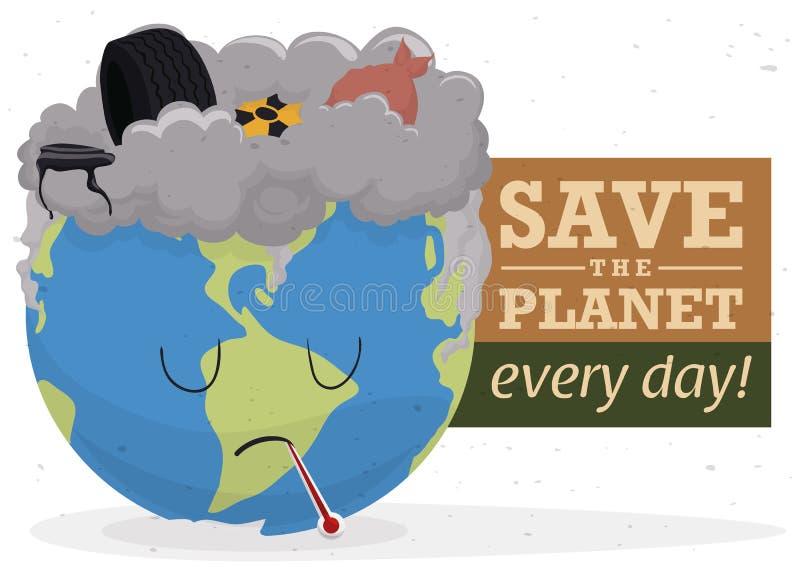 Kampagne gegen Verschmutzung mit einer traurigen Welt und einem Abfall, Vektor-Illustration stock abbildung