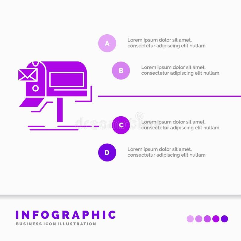 Kampagnen, E-Mail, Marketing, Newsletter, Post Infographics-Schablone für Website und Darstellung Purpurrote Ikone des GLyph info vektor abbildung