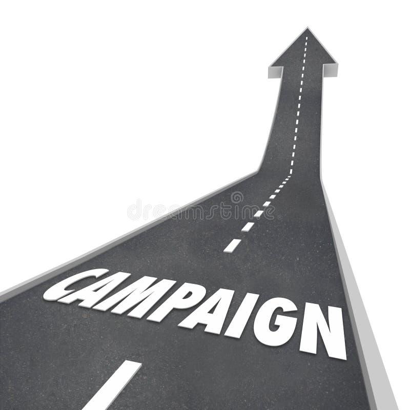 Kampagnen-Wort-Straßen-Werbungs-Marketing-Wahl-Gewinn-Erfolg stock abbildung