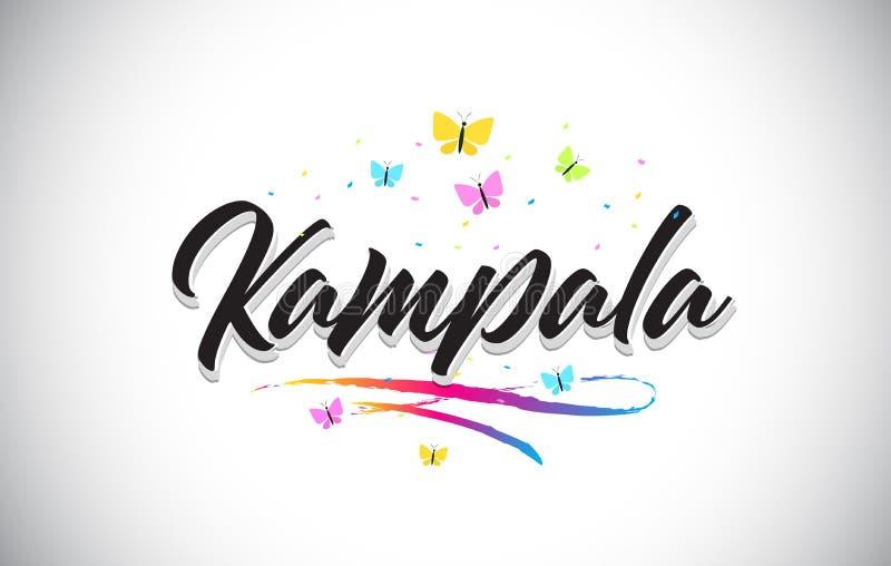 Kampala Handwritten Vector Word Text con le farfalle e variopinto mormorano illustrazione vettoriale