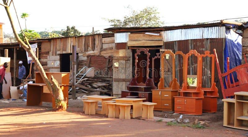 Kampala Road Side Furniture Shop imagem de stock