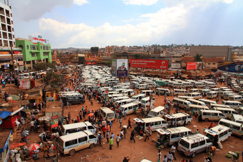 Kampala Taxi Park View fotografia de stock royalty free