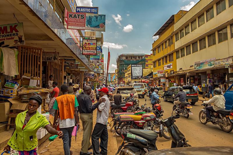 KAMPALA, UGANDA - APRIL 11, 2017: A crowded street in the center of Kampala. Where you can buy printer, toner and paper. Kampala is the capital city of Uganda royalty free stock photos