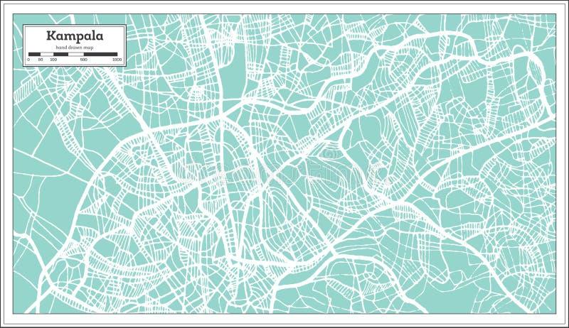 Kampala Uganda City Map nel retro stile Illustrazione in bianco e nero di vettore