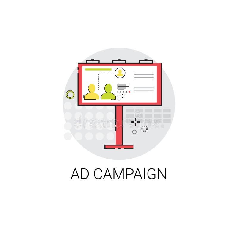 Kampania Reklamowa optymalizacja Zadowolona Marketingowa ikona royalty ilustracja
