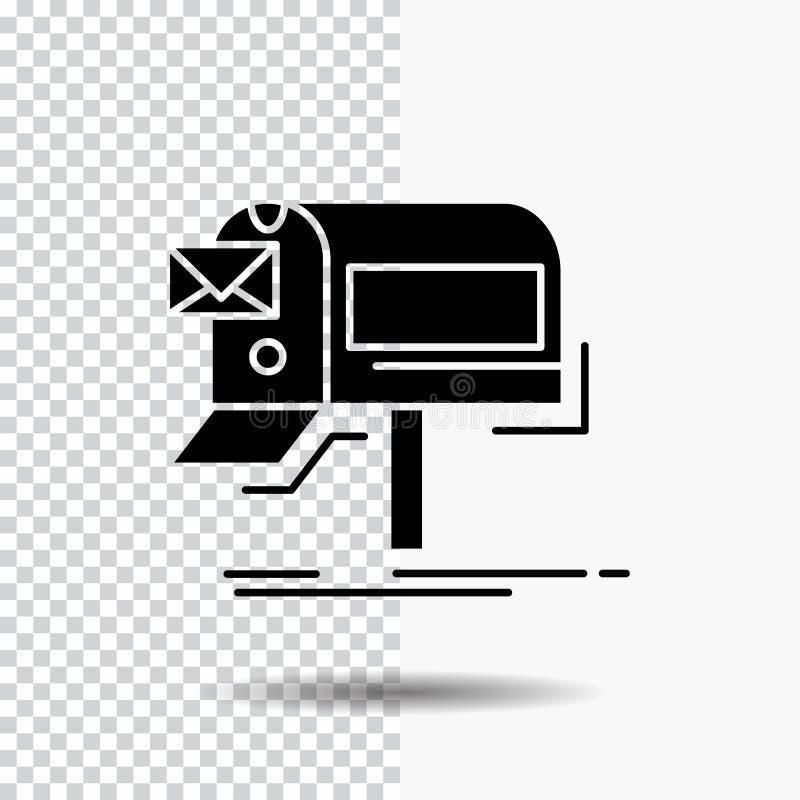 kampanie, email, marketing, gazetka, poczta glifu ikona na Przejrzystym tle Czarna ikona royalty ilustracja