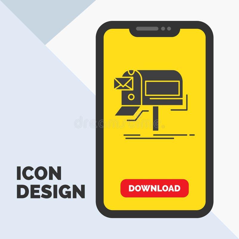 kampanie, email, marketing, gazetka, poczta glifu ikona w wiszącej ozdobie dla ściąganie strony ? ilustracja wektor