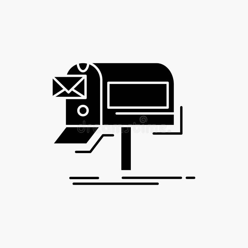 kampanie, email, marketing, gazetka, poczta glifu ikona Wektor odosobniona ilustracja ilustracja wektor
