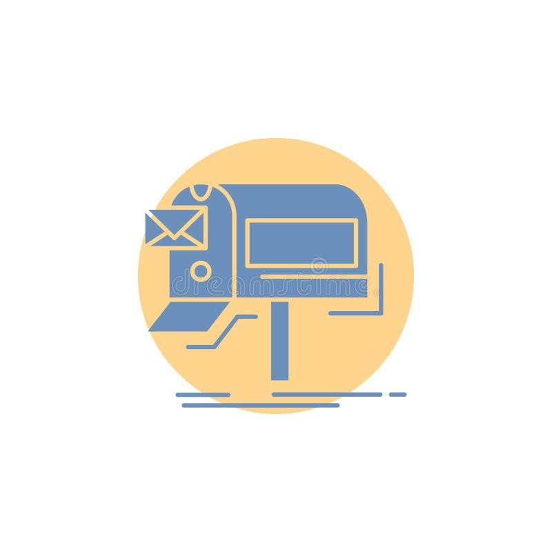 kampanie, email, marketing, gazetka, poczta glifu ikona royalty ilustracja